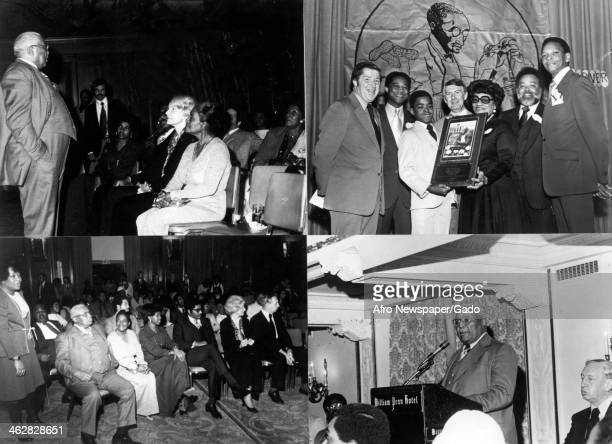 Composite of four images from the ballroom of the William Penn Hotel where American religious leader and Civil Rights activist Reverend Martin Luther...