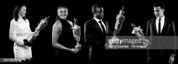 Lucy Bronze with her PFA Women's Players Player award Jess Carter with her Women's Young Player of the Year award N'Golo Kante with his PFA Player Of...
