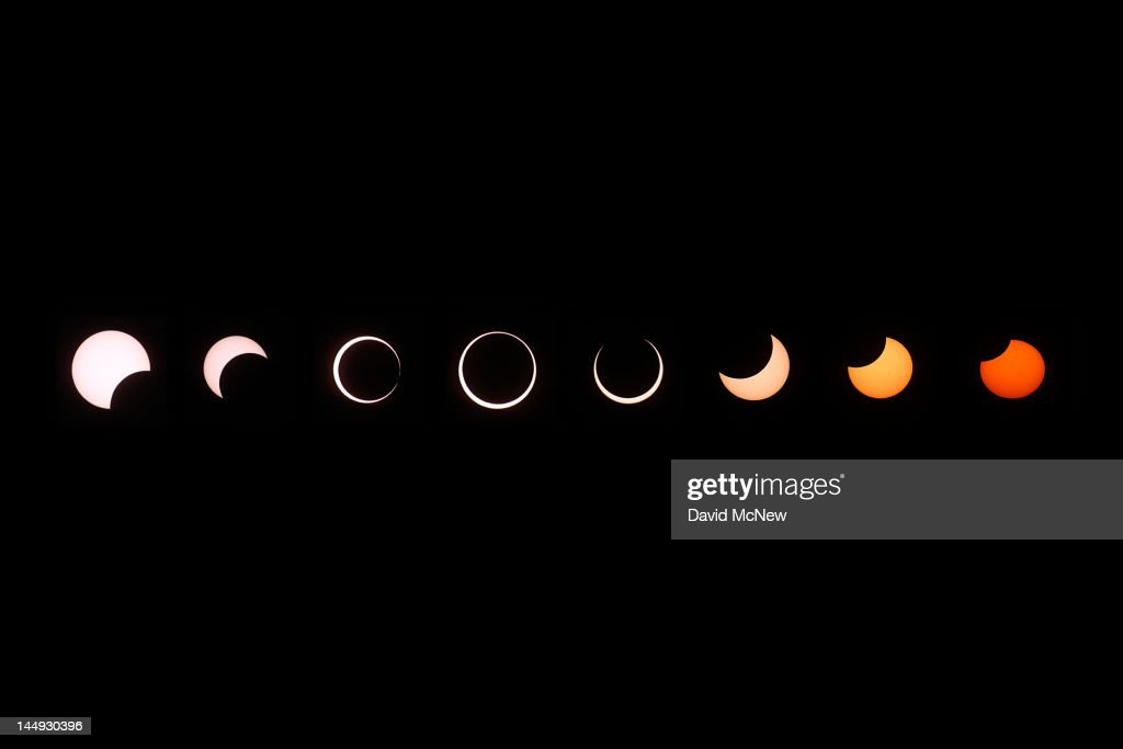 A composite of images of the first annular eclipse seen in the U.S. since 1994 shows several stages, left to right, as the eclipse passes through annularity and the sun changes color as it approaches sunset on May 20, 2012 in Grand Canyon National Park, Arizona. Differing from a total solar eclipse, the moon in an annular eclipse appears too small to cover the sun completely, leaving a ring of fire effect around the moon. The eclipse is casting a shallow path crossing the West from west Texas to Oregon then arcing across the northern Pacific Ocean to Tokyo, Japan.