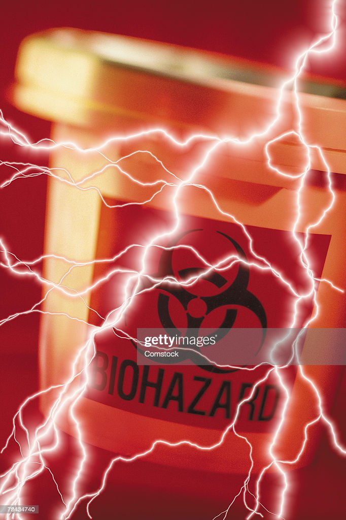 Composite of lightning bolts and biohazard container : Stock Photo