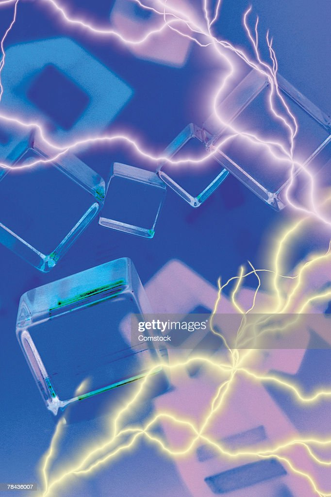 Composite of lightning bolts and clear cubes : Foto de stock