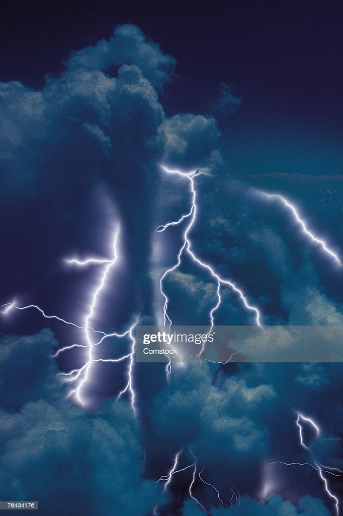 Composite of lightning bolts and clouds : Stockfoto