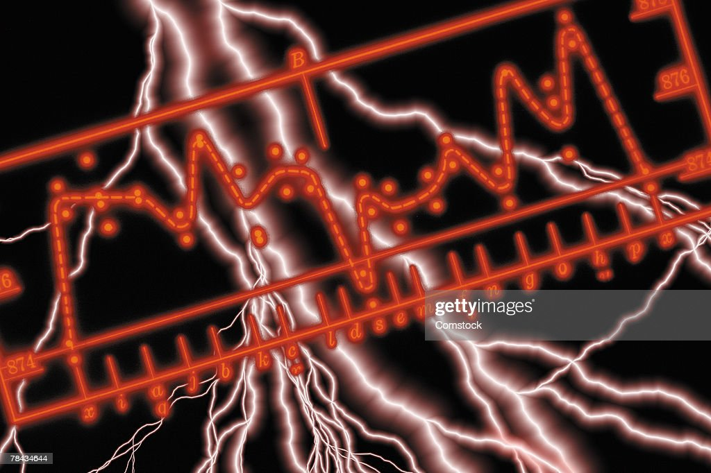 Composite of lightning bolts and EKG sine waves : Stockfoto