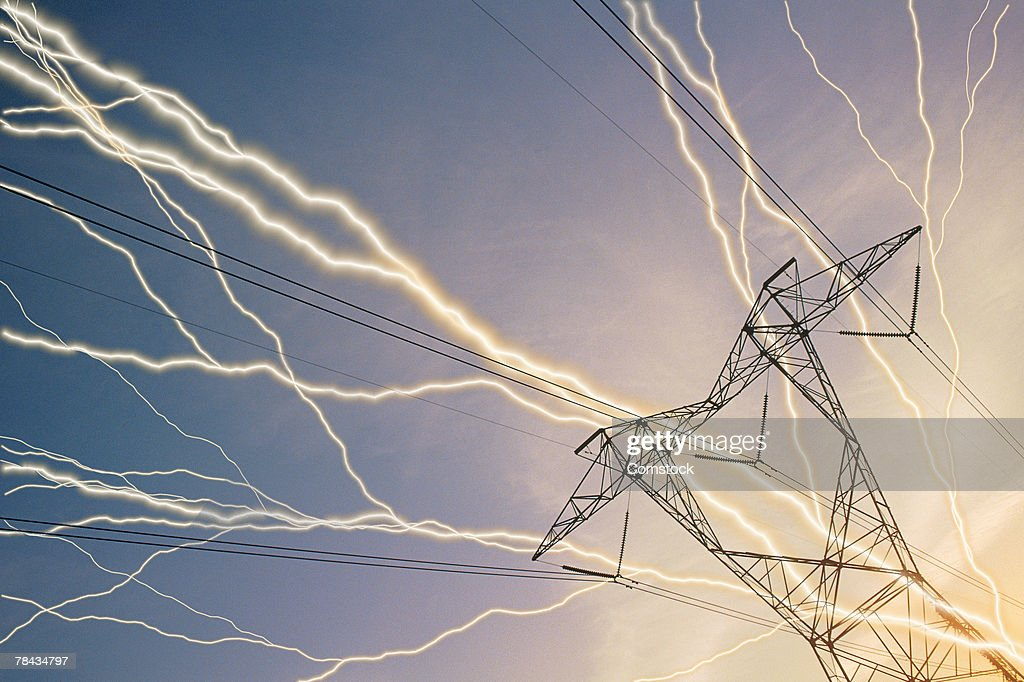 Composite of lightning bolts and electric power lines : Stockfoto