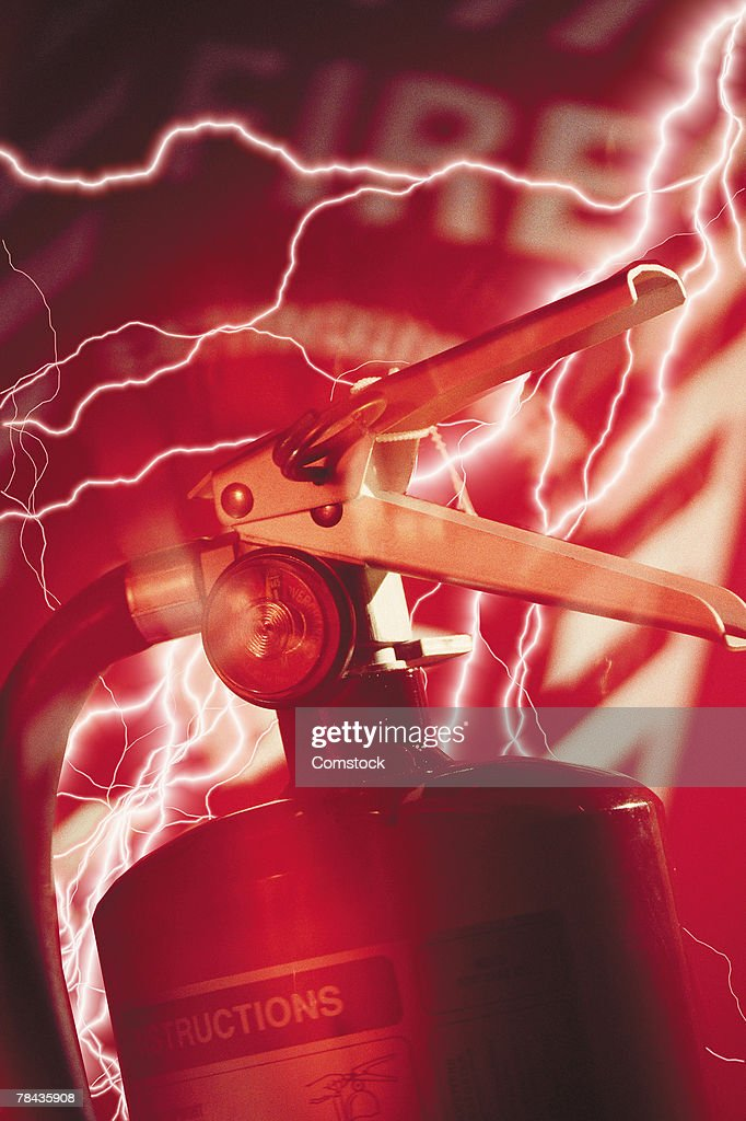 Composite of lightning bolts and fire extinguisher : Stockfoto