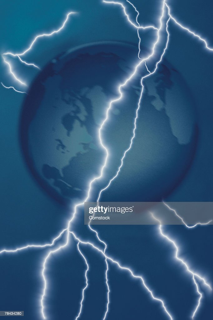 Composite of lightning bolts and globe : Stockfoto