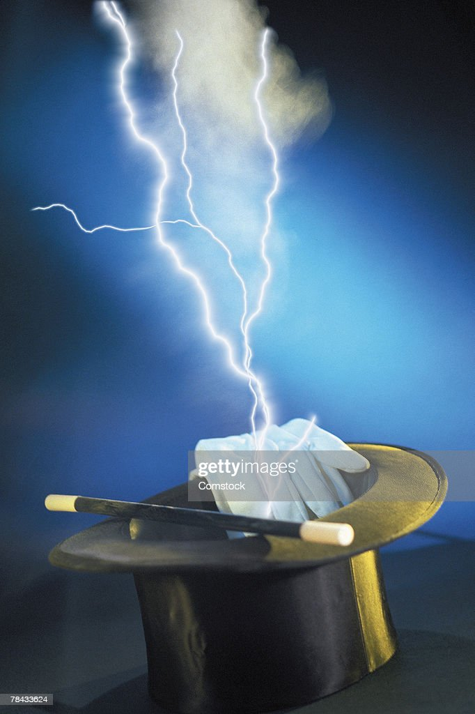 Composite of lightning bolts and magician's hat : Stockfoto