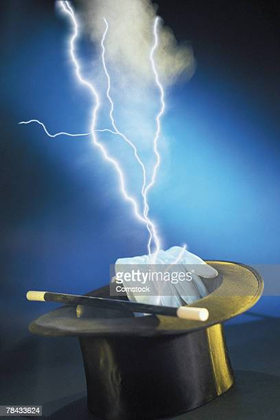 Composite of lightning bolts and magician's hat