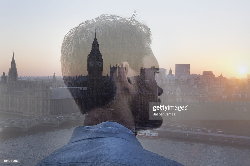 composite of man looking at houses of parliamnent : Stock Photo