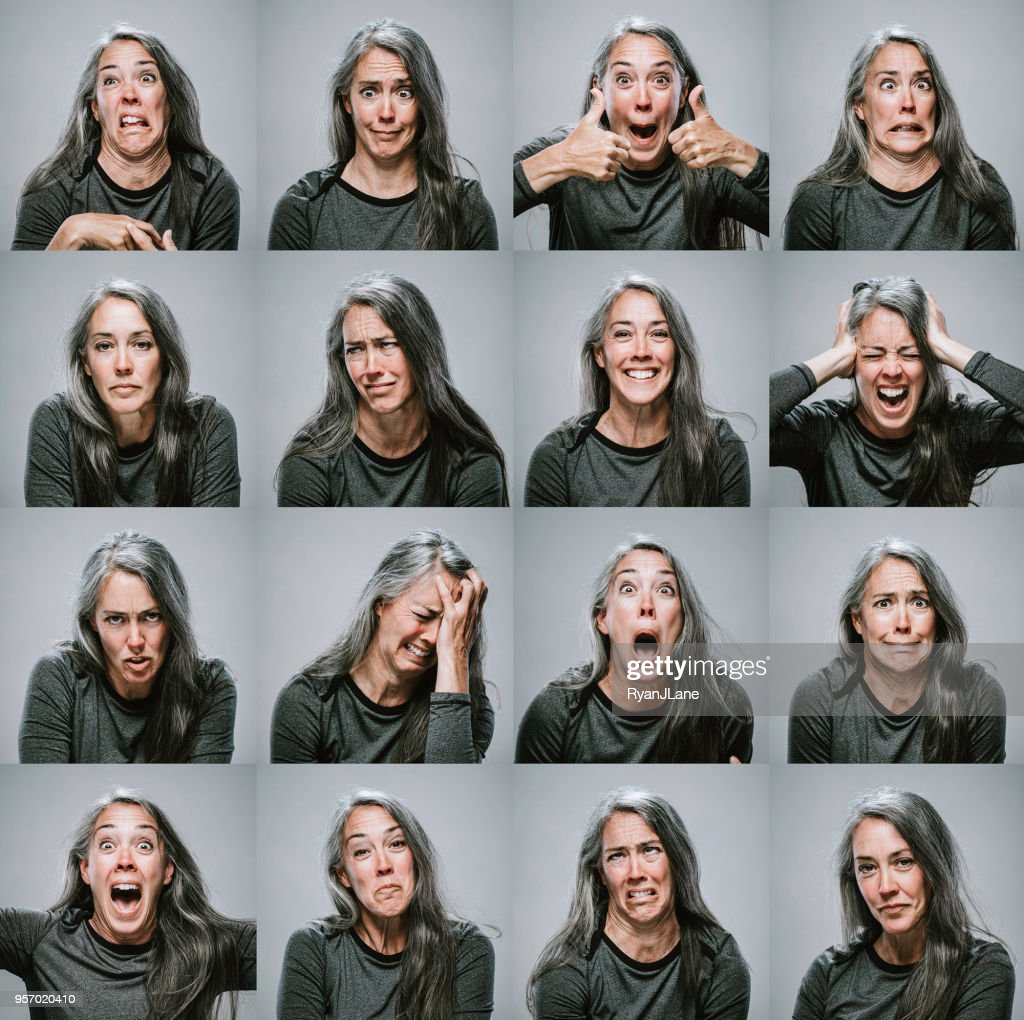 Composite of Mature Woman with Many Emotions and Expressions : Stock Photo