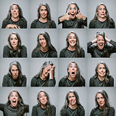 Composite of Mature Woman with Many Emotions and Expressions