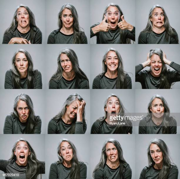 composite of mature woman with many emotions and expressions - part of a series stock pictures, royalty-free photos & images