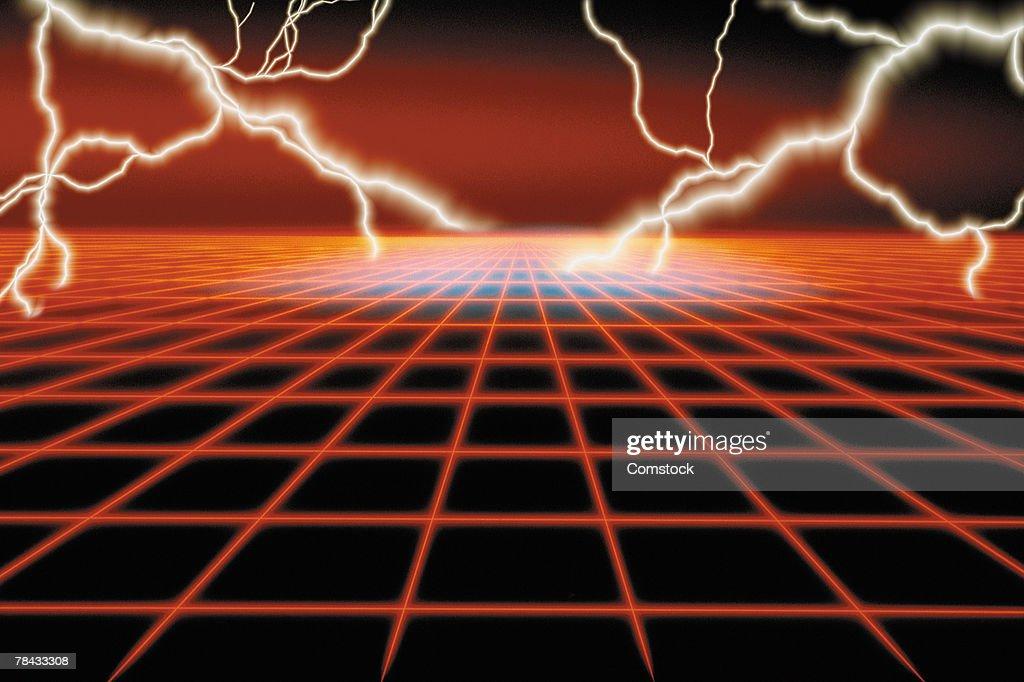 Composite of multiple lightning bolts over grid pattern : Stockfoto