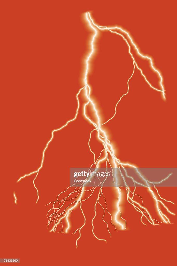 Composite of multi-pronged lightning bolt : Stock Photo