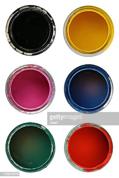 Composite of opened paint cans in different colors, on white
