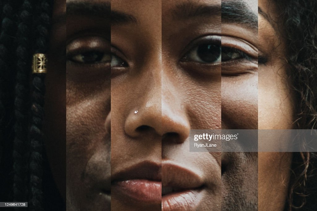 Composite of Portraits With Varying Shades of Skin : Stock Photo