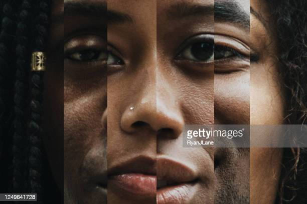 composite of portraits with varying shades of skin - black ethnicity stock pictures, royalty-free photos & images