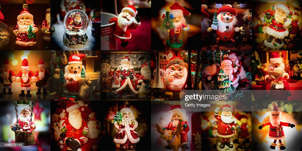 A Composite Of Santa Claus Figurines And Decorations At Annual Christmas Markets In Munich Berlin