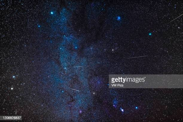 Composite of several exposures to stack images of five Geminid meteors into a wide view of the winter sky with Comet Wirtanen at upper right in...