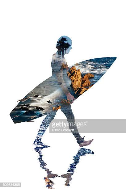 Composite of surfer and beach landscapes
