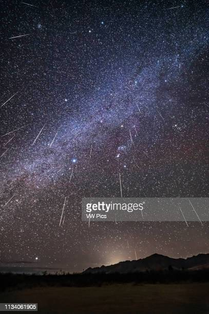 Composite of the 2017 Geminid meteor shower, from the peak night of December 13, with the radiant in Gemini, at top, high overhead So meteors appear...