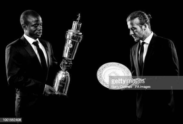 *A composite of two images* Golo Kante with his PFA Player Of The Year Award and David Beckham OBE with his PFA Outstanding Contribution to Football...