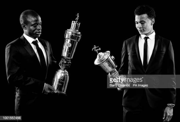 *A composite of two images* Golo Kante with his PFA Player Of The Year Award and Dele Alli with his PFA Young Player Of The Year Award