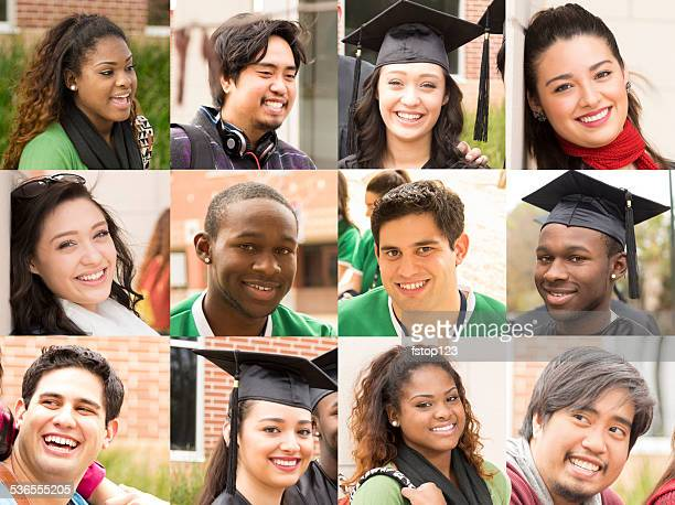 Composite people collage. Multi-ethnic group, young adults. College students.