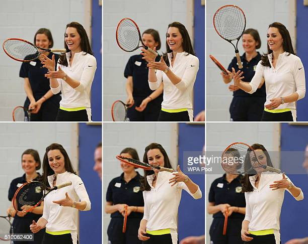 A composite photo of Catherine Duchess of Cambridge taking part in a tennis workshop with Andy Murray's mother Judy at Craigmount High School in...