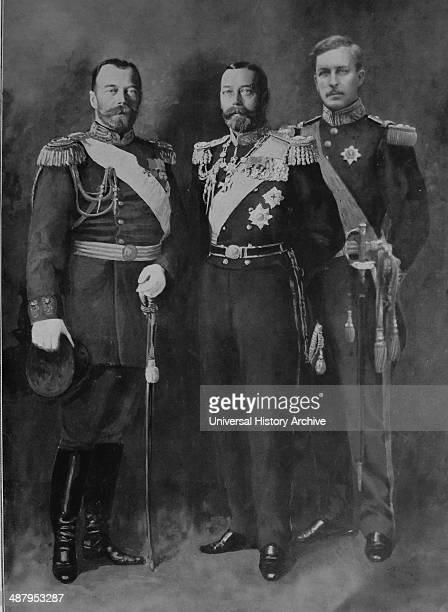 A composite photo of three allied monarchs at the outset of world war one left to right Nicholas II of Russia George V of great Britain Albert I of...