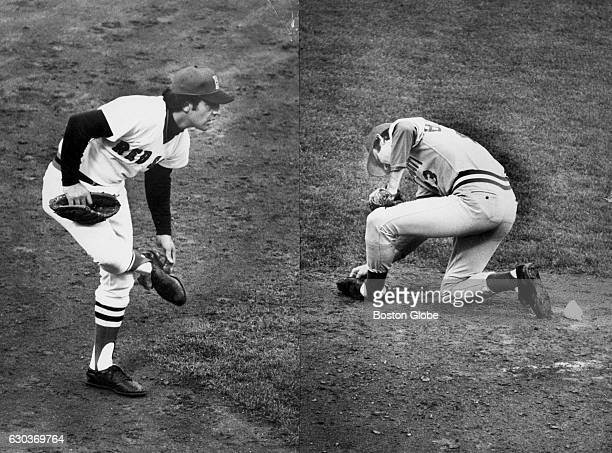 [NOTE Composite photo of two images] Boston Red Sox player Rico Petrocelli left and Cincinnati Reds player Jack Billingham right were having to clean...