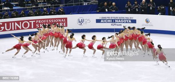 Composite photo shows action sequences of a triple axeltriple toe loop performed by Rika Kihira of Japan during the women's free skate at the Junior...