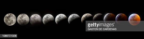 TOPSHOT A composite photo shows all the phases of the socalled Super Blood Wolf Moon total lunar eclipse on Sunday January 20 in Miami Flaorida The...