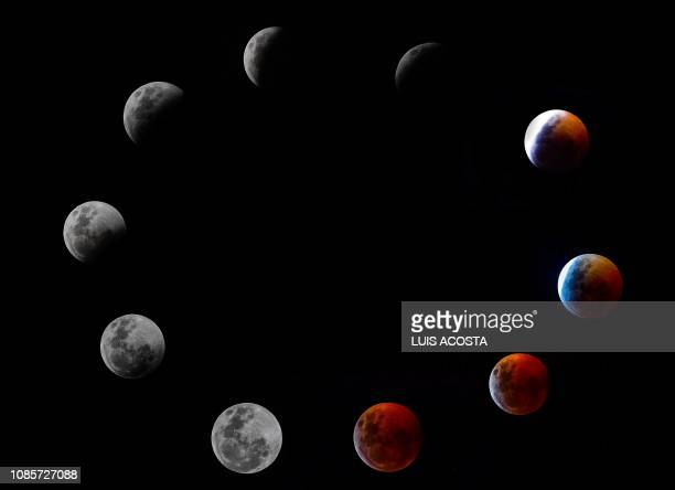 TOPSHOT A composite photo shows all the phases of the socalled Super Blood Wolf Moon total lunar eclipse on Sunday January 20 2019 in Panama City The...