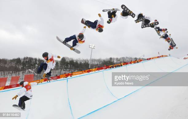 Composite photo shows Japanese snowboarder Ayumu Hirano taking to the air in his second run of the men's halfpipe final at the Pyeongchang Winter...