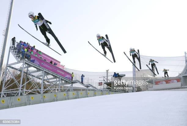 Composite photo shows Sara Takanashi's first jump of a World Cup event in Pyeongchang South Korea on Feb 16 2017 She picked up her 53rd career World...