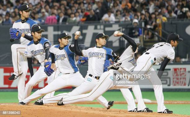 Composite photo shows Shohei Otani of the Nippon Ham Fighters in his firstteam pitching debut in a game against the Yakult Swallows at the Sapporo...