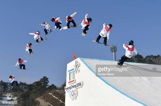 Composite photo shows snowboarder Reira Iwabuchi of Japan taking to the air in her first run in the women's big air final at the Pyeongchang Winter...