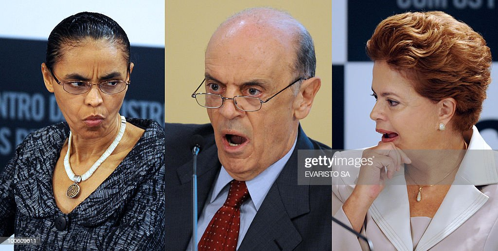 Composite photograph made out of three different images of Brazilian Presidential candidates Marina Silva (L), from the Green Party (PV), Jose Serra (C), from the Brazilian Social Democratic Party (PSDB) and Dilma Rousseff (R), from the Workers Party (PT) during a debate with businessmen in Brasilia, on May 25, 2010. Brazil's presidential election will be held October 3, with a run-off between the top two candidates on October 31 if one does not get more than half of the vote. AFP PHOTO/Evaristo SA