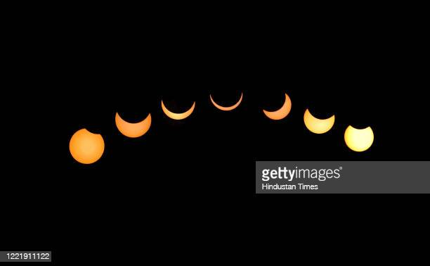 Composite photograph showing stages of the annular solar eclipse, on June 21, 2020 in Jaipur, India.