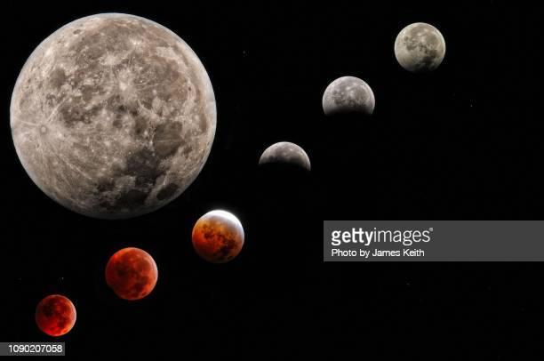 a composite photograph showing the moon with the various stages of a lunar eclipse superimposed. - suerte fotografías e imágenes de stock