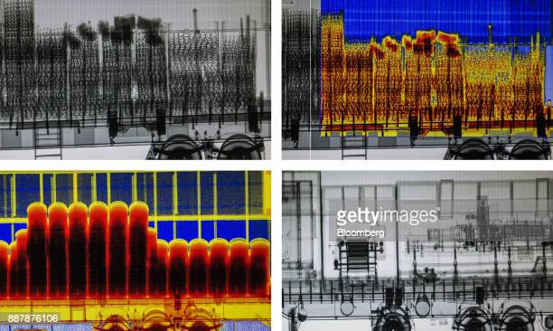A composite photograph shows security Xray images of a cargo truck entering the Port of Santos in Santos Brazil on Wednesday Oct 4 2017 The port...