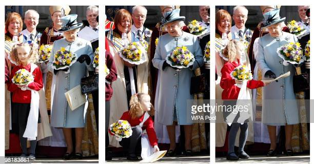 A composite picture shows a girl stooping to pick up a paper containing the order of service for Britain's Queen Elizabeth II after the Maundy...