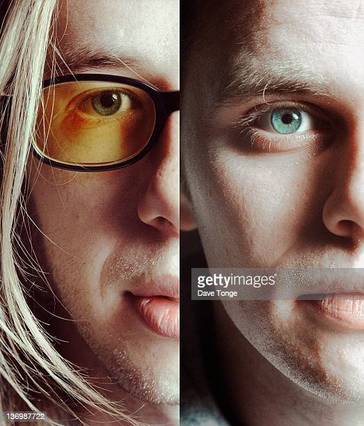 A composite portrait of Tom Rowlands and Ed Simons of English electronic music duo The Chemical Brothers London United Kingdom 1997