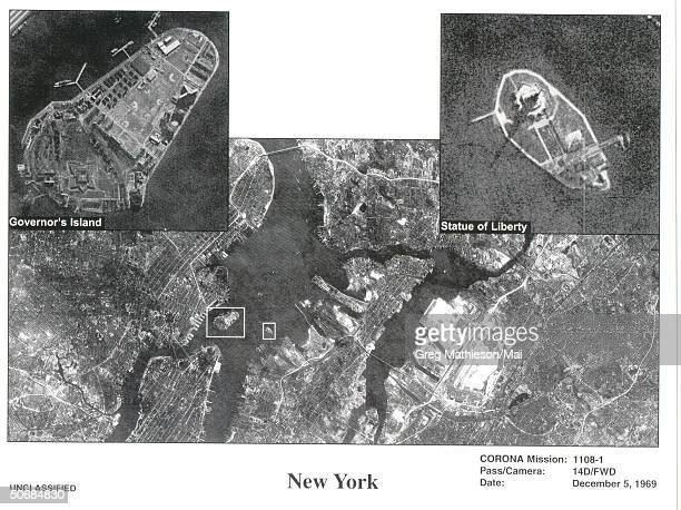 Composite satellite photo of New York City taken from one of the first US spy satelites named CORONA which was in operation from 19601972