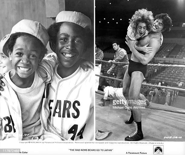 Composite Scoody Thornton and Erin Blunt smiling and Antonio Inoki lifting Curly Matthew Douglas Anton in a wrestling match in a scene from the film...