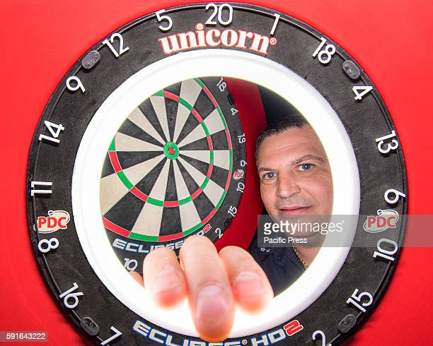 CENTRE SYDNEY NSW AUSTRALIA A composite view of professional darts player Gary Anderson and the competition dartboard during a press conference ahead...