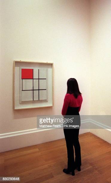 'Composition B with Red' a work by Dutch abstract painter Piet Mondrian being viewed at the Tate Gallery The work will be displayed at the gallery...