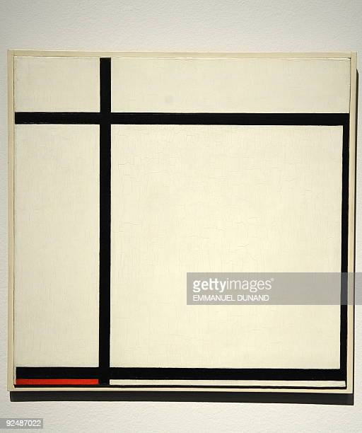 'Composition II with Red 1926' a painting by Piet Mondrian is on display at Christie's during a preview of Christie's Impressionist and Modern Art...