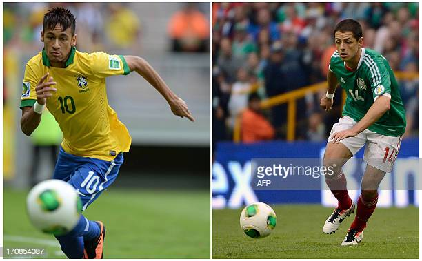 Composition made with a file picture of Brazil's forward Neymar running for the ball during the FIFA Confederations Cup Brazil 2013 Group A football...